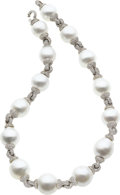 Estate Jewelry:Pearls, Baroque South Sea Cultured Pearl, Diamond, White Gold Necklace. ...