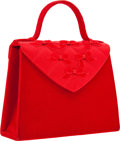 Luxury Accessories:Bags, Fendi Red Velvet, Velour, & Satin Evening Bag. ...