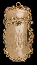 Silver Smalls, A BATTIN 14K GOLD COMBINATION MATCH SAFE AND PICTURE FRAME HOLDER .Battin & Co., Newark, New Jersey, circa 1900. Marks:1...