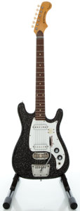 Musical Instruments:Electric Guitars, 1960's Magnatone Zephyr Model Black Solid Body Electric Guitar,Serial #050873....