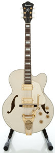 Musical Instruments:Electric Guitars, Ibanez AF75TDG White Semi-Hollow Body Electric Guitar, Serial#S08100256....