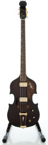Musical Instruments:Bass Guitars, Circa Late 1970's Apollo Violin Model Brown Electric Bass Guitar, Serial #0098355....