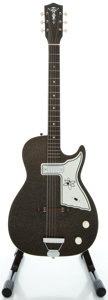Musical Instruments:Electric Guitars, 1960's Harmony Stratotone Alden Black Solid Body Electric Guitar...