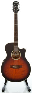 Musical Instruments:Acoustic Guitars, Epiphone ER6E Sunburst Acoustic Electric Guitar, Serial#S94030257....