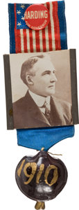 Political:Ribbons & Badges, Warren G. Harding: 1910 Gubernatorial Badge. ...