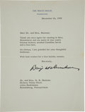"""Autographs:U.S. Presidents, Dwight D. Eisenhower Typed Letter Signed """"Dwight D.Eisenhower"""" as President of the United States...."""