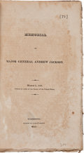 Miscellaneous:Booklets, Memorial of Major General Andrew Jackson. March 6, 1820. Printed by Order of the Senate of the United States....