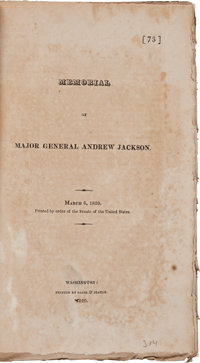Memorial of Major General Andrew Jackson. March 6, 1820. Printed by Order of the Senate of the