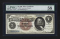 Large Size:Silver Certificates, Fr. 263 $5 1886 Silver Certificate PMG Choice About Uncirculated58.. ...