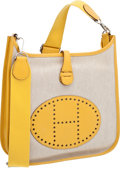 Luxury Accessories:Bags, Hermes Toile & Jaune Leather Evelyne Messenger Bag. ...