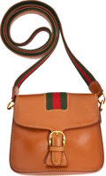 Luxury Accessories:Bags, Gucci Vintage Natural Tan Leather Classic Stripe Saddle Bag withGold Hardware. ...