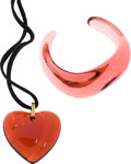 Luxury Accessories:Accessories, Baccarat Art Glass Pink Bangle Bracelet and Red Heart Necklace. ...