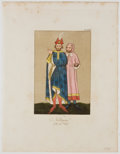Antiques:Posters & Prints, Hand-Colored Copper Engravings of Early English Noblemen'sClothing....