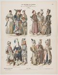 Antiques:Posters & Prints, Vintage History of Clothing Color Illustrations....