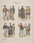 Antiques:Posters & Prints, Vintage History of Costume Color Illustrations....