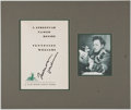 Autographs:Authors, Playwright Tennessee Williams Book Title Page Signed....