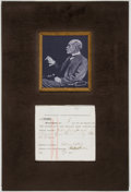 Autographs:Authors, Author Rudyard Kipling Document Signed Twice with photograph....