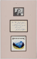 Autographs:Artists, Composer Richard Rodgers Autograph Note Signed with photograph....