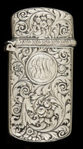 Silver Smalls:Match Safes, A WHITING SILVER MATCH SAFE . Whiting Manufacturing Company, NewYork, New York, circa 1900. Marks: (W with griffin), S...