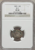 Bust Dimes, 1825 10C XF40 NGC. JR-2. NGC Census: (3/80). PCGS Population(3/60). Mintage: 410,000. Numismedia Wsl. Price for problem fr...