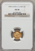 Commemorative Gold: , 1904 G$1 Lewis and Clark AU58 NGC. NGC Census: (40/1099). PCGSPopulation (110/1721). Mintage: 10,025. Numismedia Wsl. Pric...
