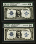Large Size:Silver Certificates, Reverse Changeover Pair Fr. 238/237 $1 1923 Silver Certificates PMG Superb Gem Uncirculated 68 EPQ/Gem Uncirculated 66 EPQ... (Total: 2 notes)