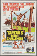 "Movie Posters:Adventure, Tarzan's Three Challenges (MGM, 1963). One Sheet (27"" X 41"").Adventure.. ..."