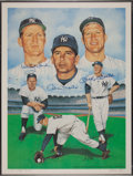 Baseball Collectibles:Others, Whitey Ford, Billy Martin and Mickey Mantle Multi SignedLithograph....