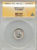 Barber Dimes, 1892-S 10C -- Cleaned -- ANACS. MS60 Details. NGC Census: (0/88).PCGS Population (1/86). Mintage: 990,710. Numismedia Wsl....