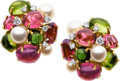Estate Jewelry:Earrings, Tourmaline, Peridot, Cultured Pearl, Diamond, Gold Earrings, SeamanSchepps. ...