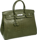 Luxury Accessories:Bags, Hermes 40cm Matte Vert Veronese Alligator Birkin Bag with PalladiumHardware. ...