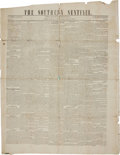 Miscellaneous:Newspaper, Wallpaper Newspaper: The Southern Sentinel....