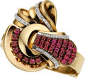 Estate Jewelry:Watches, Retro Swiss Lady's Ruby, Diamond, Gold Covered Dial Wristwatch,Lackritz. ...