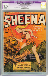Sheena, Queen of the Jungle #1 (Fiction House, 1942) CGC Apparent VG- 3.5 Slight (A) Slightly Brittle pages
