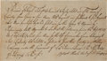 """Military & Patriotic:Revolutionary War, [Revolutionary War] 1776 Receipt for """"four guns or fire armswith bayonets and scabbards""""...."""