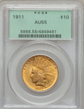 Indian Eagles: , 1911 $10 AU55 PCGS. PCGS Population (312/6274). NGC Census:(112/8433). Mintage: 505,595. Numismedia Wsl. Price for problem...