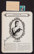 Boxing Collectibles:Autographs, Jack Dempsey Signed Cut Signature and Clipping....