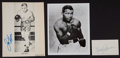 Boxing Collectibles:Autographs, Ray Robinson, Louis and Johannsson Signed Memorabilia Lot of 3....