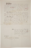 "Autographs:U.S. Presidents, Grover Cleveland Document Signed ""Grover Cleveland"" asGovernor of New York...."