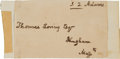 "Autographs:U.S. Presidents, John Quincy Adams Free Frank Signed ""J. Q. Adams""...."