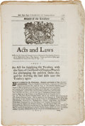 Miscellaneous:Ephemera, [Massachusetts Bay Colony] Acts and Laws, Passed by theGreat and General court of Assembly of His Majesty's...