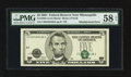 Error Notes:Shifted Third Printing, Fr. 1988-I $5 2001 Federal Reserve Note. PMG Choice About Unc 58 EPQ.. ...