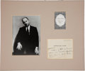 Autographs:Artists, Christian Dior Autograph Note Signed....