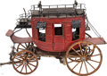 Antiques:Folk Art, Marvelously Detailed, Large Handmade Wood Model of a ClassicWestern Stagecoach....