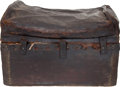 """Miscellaneous, Nineteenth Century Wood and Leather Chest with Nice """"Period Flavor."""" ..."""