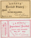 Political:Small Miscellaneous (pre-1896), Andrew Johnson: Impeachment Trial Passes.... (Total: 1 Pair)