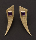 Estate Jewelry:Earrings, Amethyst & Gold Earrings. ...