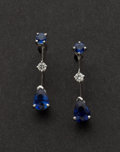 Estate Jewelry:Earrings, White Gold Diamond & Sapphire Earrings. ...