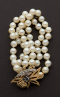 Estate Jewelry:Pearls, Triple Strand Pearl Necklace With A 14k Gold Clasp. ...