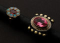 Estate Jewelry:Rings, Two Gold Rings Ruby & Opals & Rubellite. ... (Total: 2 Items)